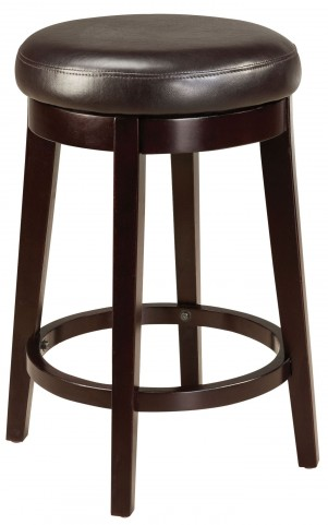 "Round Brown 24"" Upholstered Smart Stool"