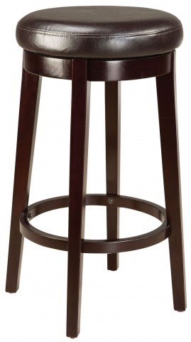 "Round Brown 29"" Upholstered Smart Stool"