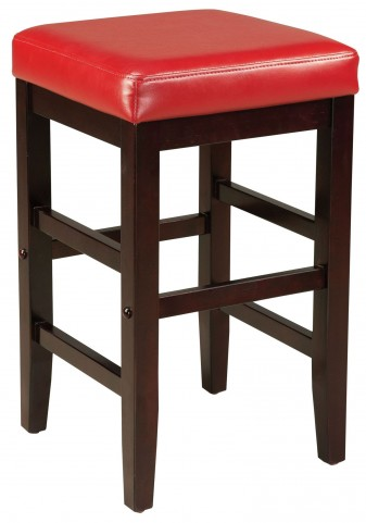 "Square Red 24"" Upholstered Smart Stool"