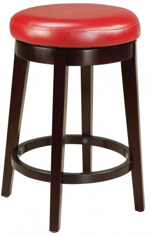 "Round Red 24"" Upholstered Smart Stool"