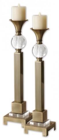 Euron Coffee Bronze Candleholders, Set of 2