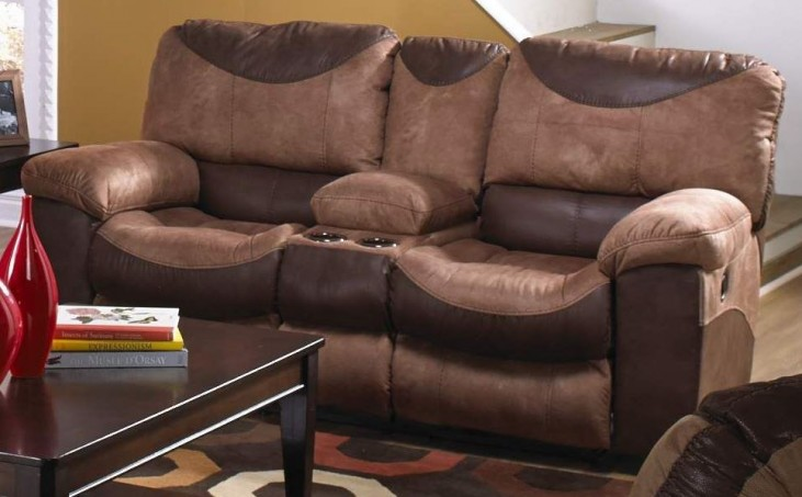 Portman Saddle/Chocolate Reclining Loveseat with Console