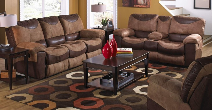 Portman Saddle/Chocolate Reclining Living Room Set