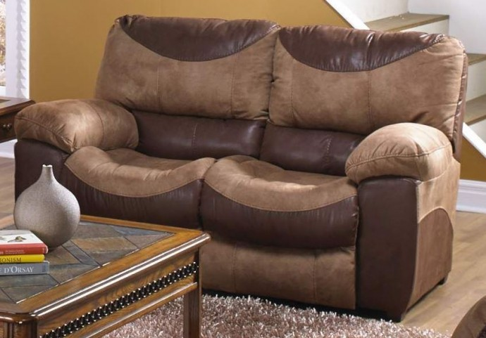 Portman Saddle/Chocolate Reclining Loveseat