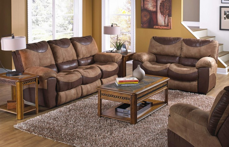 Portman Saddle/Chocolate Power Reclining Living Room Set