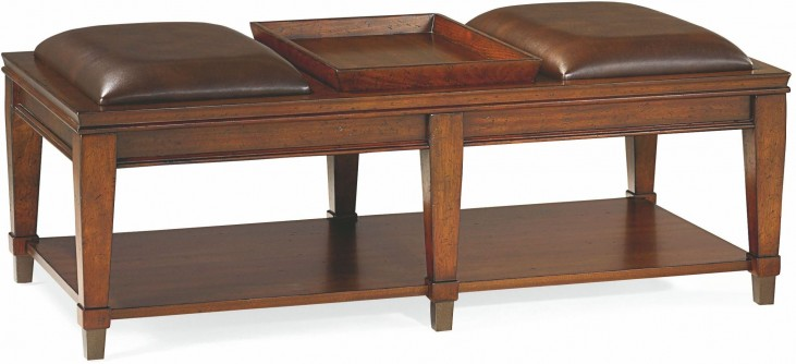 Sunset Valley Rich Mahogany Rectangular Bench Cocktail Table