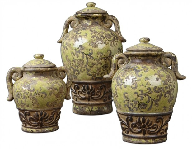 Gian Crackled Green Containers, Set of 3