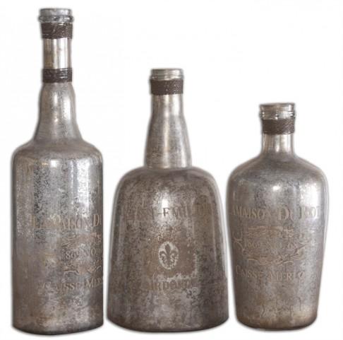 Lamaison Mercury Glass Bottles Set of 3
