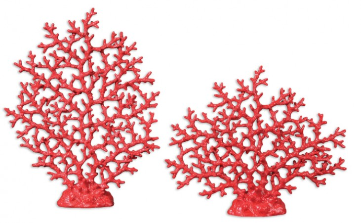 Red Coral Sculpture Set of 2