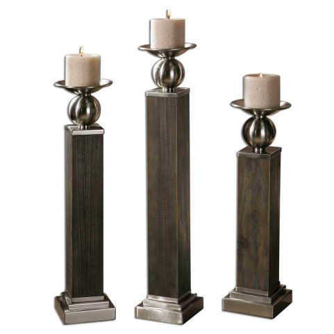 Hestia Wood Candleholders Set of 3
