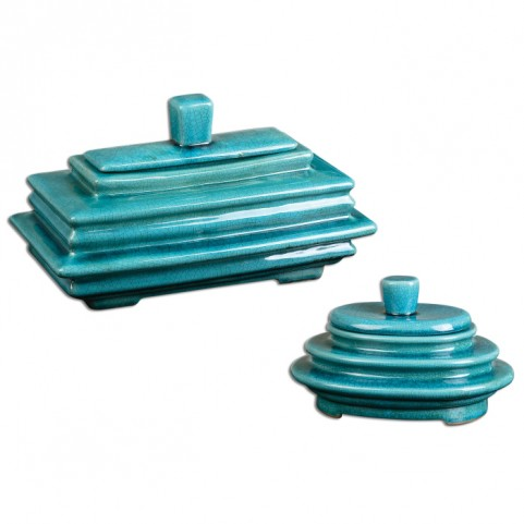 Indra Bright Blue Boxes Set of 2