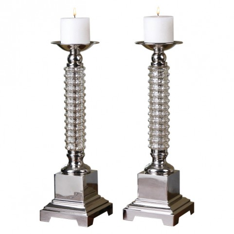 Ardex Mercury Glass Candleholders Set of 2
