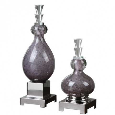 Charoite Purple Glass Bottles Set of 2