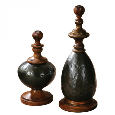 Javini Metal Finials Set of 2