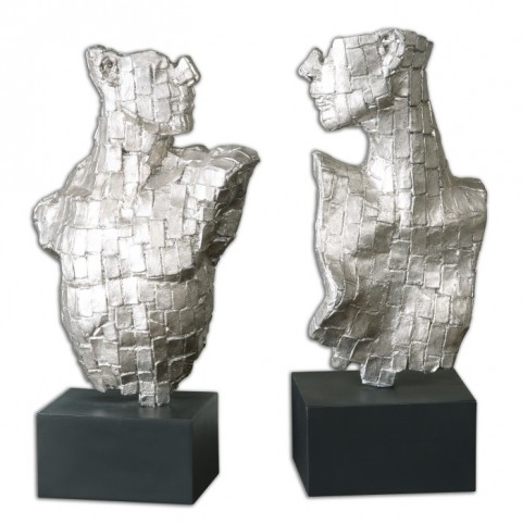 Eros Silver Sculptures Set of 2
