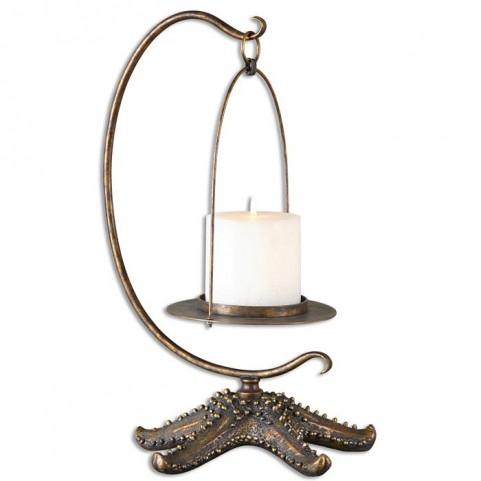 Starfish Antiqued Gold Candle Holder