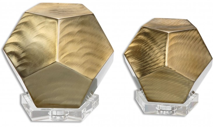 Pentagon Coffee Bronze Cubes Set of 2