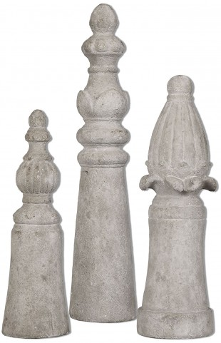 Asmund Aged Ivory Finials Set of 3