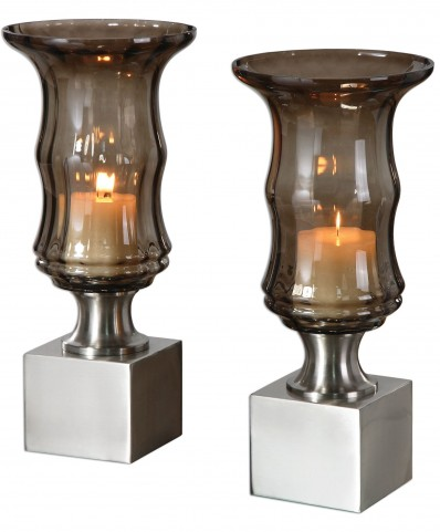 Araby Smoked Glass Candleholders Set of 2