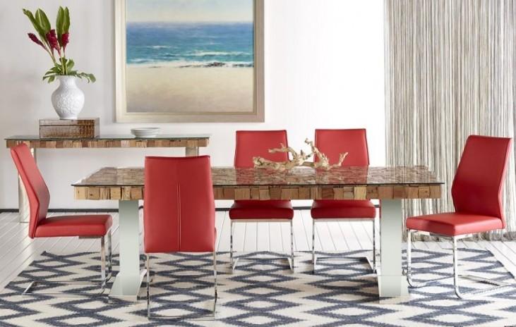 Taj Trapasso Stainless Steel Dining Room Set with Regis Vita Dining Chairs