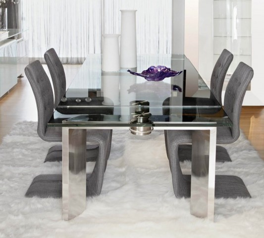 Ritz Mo Stainless Steel Rectangular Extendable Dining Room Set with Regis Forma Dining Chairs