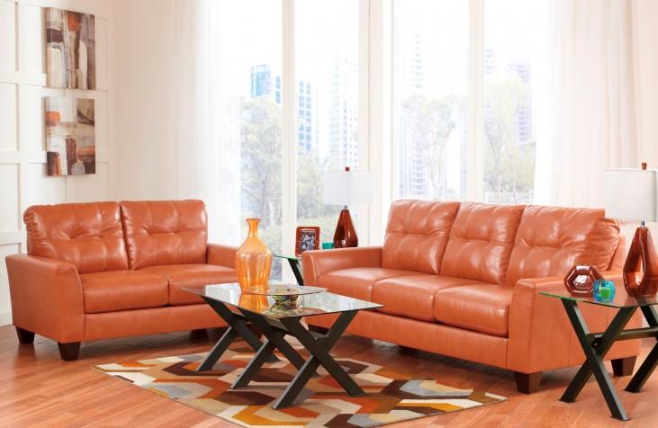 Paulie DuraBlend Orange Living Room Set