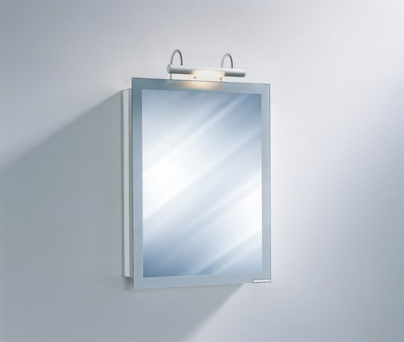 "Axara 19"" Hinge Left White Mirror Cabinet with Halogen Lamp"