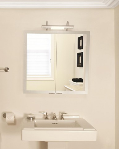 "Axara 35"" Anodized Mirror Cabinet with Halogen Lamp"