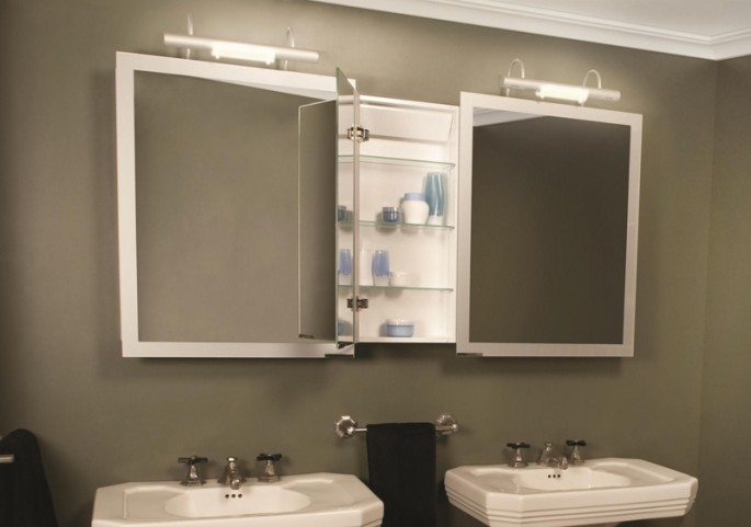 "Axara 51"" Hinge Left White Mirror Cabinet with Halogen Lamp"
