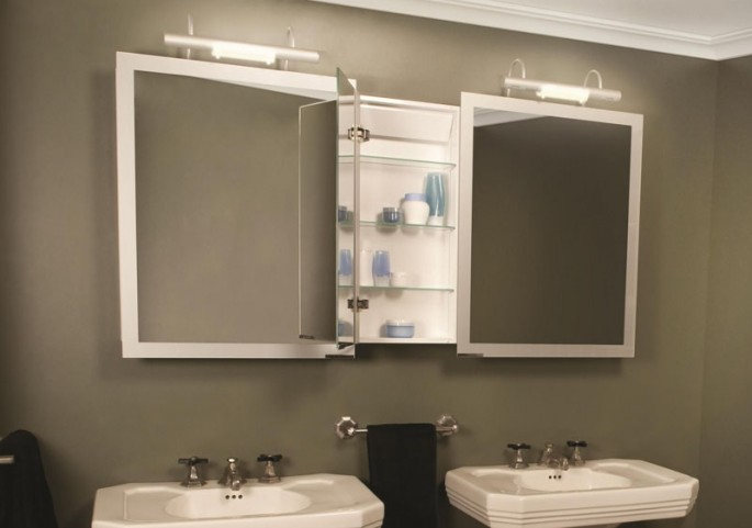"Axara 59"" Hinge Left Anodized Mirror Cabinet with Halogen Lamp"