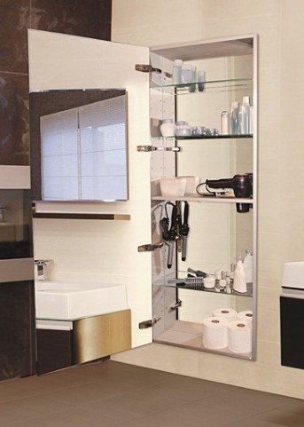 """Tall 60"""" Recessed Right Hinge Mirror Cabinet"""