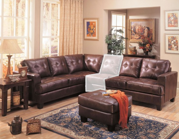 Samuel 3 Piece Brown Leather Sectional Sofa