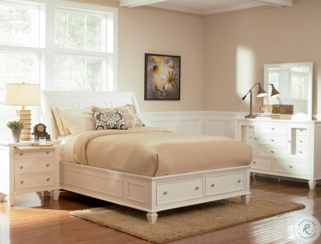 Sandy Beach White Sleigh Storage Bedroom Set - 201309