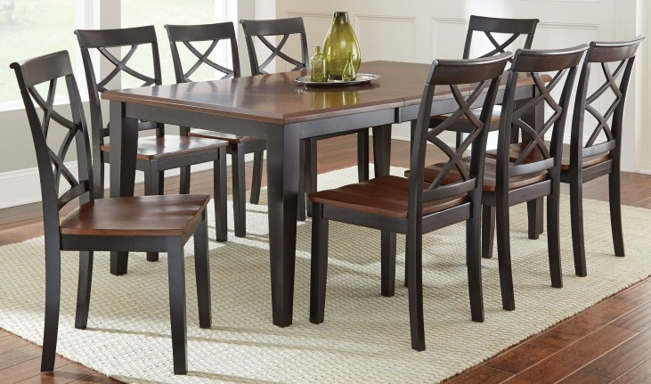 Rani two tone extendable rectangular dining room set from for 2 tone dining room sets