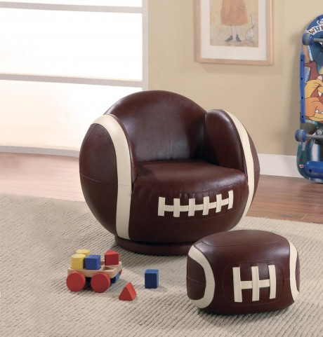 White & Brown Small Kids Football Chair 460179