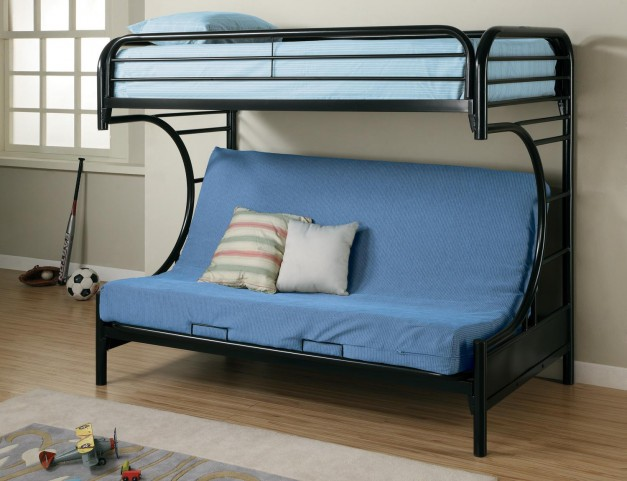 Fordham Black Twin Over Twin Futon Bunk Bed