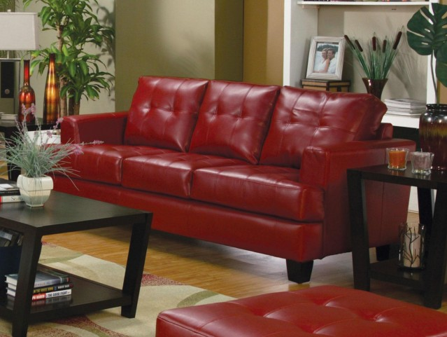 Samuel Red Leather Sofa - 501831