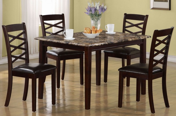 5 Piece Dark Cherry Marble Dining Set