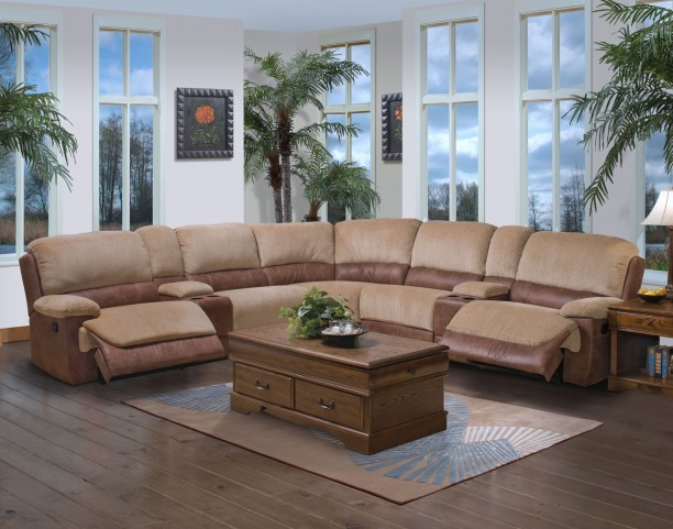 Dover Bristol Sand Mocha Single Reclining Sectional