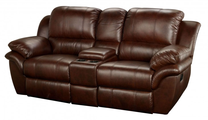 Cabo Brown Dual Reclining Loveseat with Console