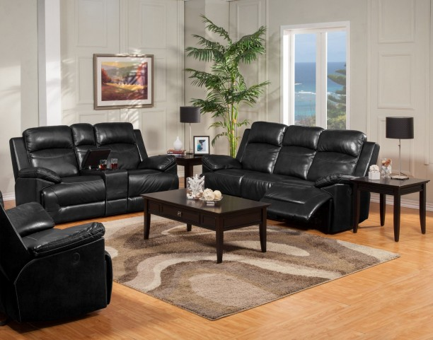Cortez Black Power Reclining Living Room Set