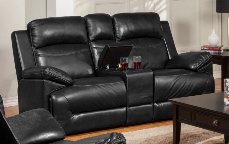 Cortez Black Power Glider Reclining Loveseat with Console