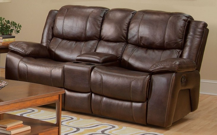Kenwood Premier Brown Dual Reclining Loveseat with Console