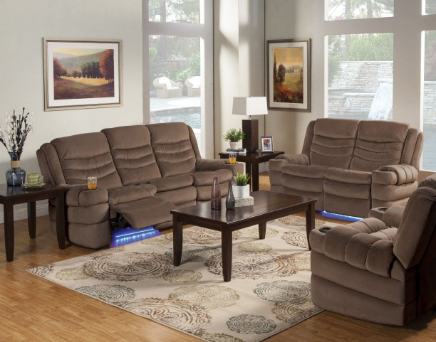 Rolling Hills Tan Dual Reclining Living Room Set