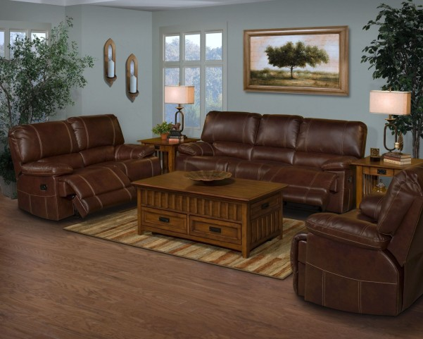 Wyoming Newark African Chestnut Power Reclining Living Room Set