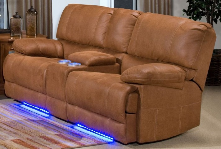 Montana Canyon Brown Dual Reclining Lighted Loveseat with Console