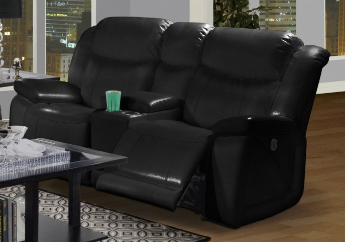 Soho Mesa Black Dual Glider Reclining Loveseat with Console