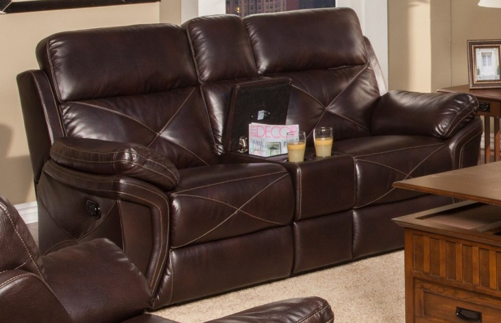 Galaxy Snake Chocolate Dual Reclining Loveseat with Console
