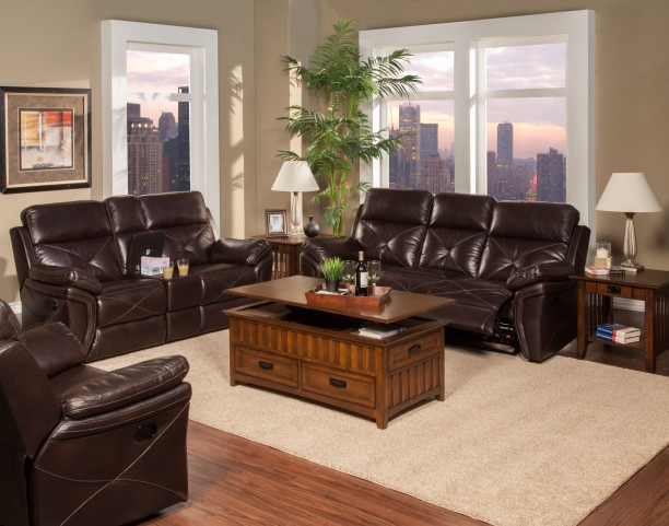 Galaxy Snake Chocolate Dual Reclining Living Room Set