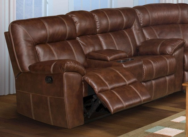 Thorton Durham Brown Dual Reclining Loveseat with Console